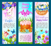 Easter paschal cake, eggs, flowers vector banners Royalty Free Stock Photos
