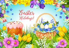 Easter paschal cake, eggs, flowers vector greeting Stock Images