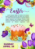 Easter paschal cake paska kulich vector poster Stock Image