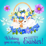 Easter paschal card eggs and bunny vector greeting Stock Photography