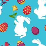 Easter paschal eggs and bunny seamless pattern vector background Stock Image