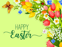 Easter paschal flowers wreath eggs vector greeting Stock Image