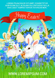 Easter paschal hunt eggs and bunnies vector poster Stock Images