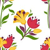 Easter paschal seamless spring flowers pattern vector flat background Royalty Free Stock Image