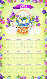 Easter paschal vector calendar 2018 template desgn Royalty Free Stock Images