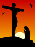 Easter - Passion of Christ. Good Friday: Mary praying by the cross of Jesus crucified on the hill of Calvary. Useful also as Easter greeting card. You can find royalty free illustration