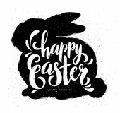 Easter Pastcard with Grunge Bunny and Calligraphic Text. Stock Photography