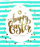Easter Pastcard with Grunge Egg and Calligraphic Text. Stock Images