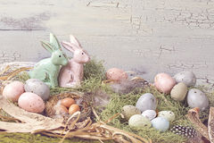 Easter pastel colored decoration Stock Photos