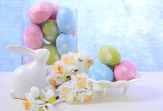 Easter pastel eggs and bunny decoration. Royalty Free Stock Images