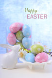 Easter pastel eggs and bunny decoration. Royalty Free Stock Photo