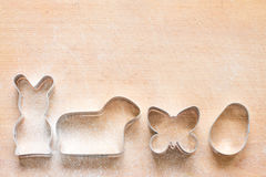 Easter pastry cutters baking food abstract background Royalty Free Stock Images