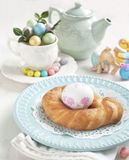 Easter pastry wreath. And decoration egg royalty free stock photo