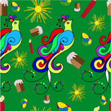 Easter pattern with a birds. Easter seamless pattern with birds on green background Stock Photos