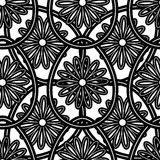 Easter Pattern 5. Black big and small eggs with flowers on the white background. Vector illustration. EPS10 Stock Images