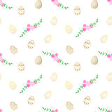 Easter  pattern with eggs and flowers. Vector seamless pattern Royalty Free Stock Photos