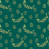 Easter  pattern with eggs and lettering. Vector seamless pattern Royalty Free Stock Images
