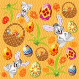 Easter pattern with eggs, rabb stock illustration