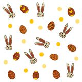 Easter pattern with eggs and rabbits on white background royalty free illustration