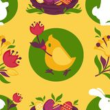 Easter pattern paschal eggs, bunny and chick seamless vector background Royalty Free Stock Photo