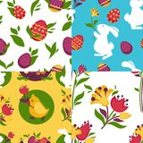 Easter pattern paschal eggs, bunny seamless vector backgrounds set Stock Images