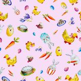 Easter pattern with rabbits, ducks and carrots stock illustration