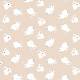 Easter pattern. Seamless pattern with cute white rabbits. Vector illustration Royalty Free Stock Photo