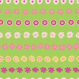 Easter pattern tile. Flowers in rows seamless vector background green. Floral illustration of hand drawn pink yellow summer royalty free illustration