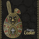 Easter pattern with white Easter rabbit and borders. Floral background at the back. Text Happy Easter. Golden design. Vector illus. Tration Stock Image