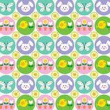 Easter Pattern With Bunnies Butterflies And Chicks Stock Images