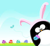 Easter Penguin With Eggs Stock Images