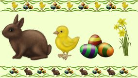 Easter pets. Chicken eggs bunny rabbit easter happy flower Royalty Free Stock Photos