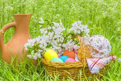 Easter picnic in the garden on the green grass Stock Photography