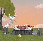 Easter picnic with rabbits and dove Stock Images