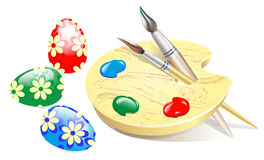 Easter picture. Nvector image of the composition of Easter eggs and a palette with brushes and paints Stock Photo