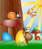 Easter picture with snails. Stock Photos