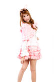 Easter picture of young woman wearing easter bunny costume again Royalty Free Stock Image