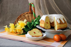 Easter pie on a festive table. Still Life Easter pie on a festive table Stock Photos
