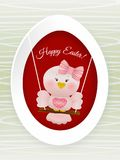 Easter Pink bird in swing. On easter egg and decorated background Royalty Free Stock Image
