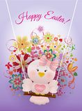 Easter Pink bird in swing. On  spring decorated background and greeting Happy Easter Stock Photos