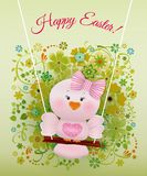 Easter Pink bird in swing. On  spring decorated background and greeting Happy Easter Stock Photography