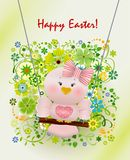 Easter Pink bird in swing. On spring decorated background and greeting Happy Easter Royalty Free Stock Photos