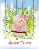 Easter Pink bird in swing and spring flowers. Easter card with Easter Pink bird on spring flowers background and greeting Happy Easter Stock Image