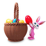 Easter pink bunny with eggs bucket Royalty Free Stock Photos