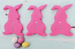 Easter pink confectionary sugar fondant cookie bunnies Royalty Free Stock Photos