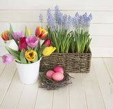 Easter. Pink easter eggs and tulips lie on a wooden background. Flat lay. royalty free stock photography
