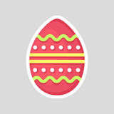 Easter pink egg  on a gray background with a colored contrast ornament of a segment and dots, smooth zig zag. Stock Photos
