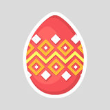Easter pink egg icon  on a gray background with colored contrasting ornament of  zig zag line and rhombus. Royalty Free Stock Image