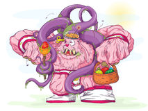 Easter Pink monster. Zombie pink rabbit walking on a meadow Royalty Free Stock Images