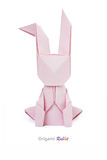 Easter pink origami rabbit Royalty Free Stock Images